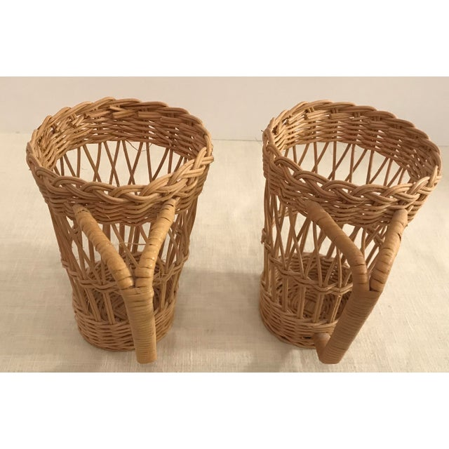 Vintage Wicker Handled Glass Holders - A Pair For Sale In Dallas - Image 6 of 8