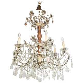 19th Century Italian Pricket Chandelier Draped in Crystal Beads For Sale