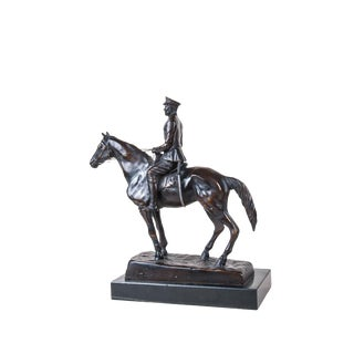 Edward the VIII Duke of Windsor Sculpture by Sydney March, Cast Metal and Marble, Decorative, Historical, English Royalty, Equestrianism For Sale