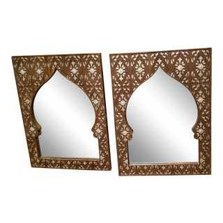 1970s Moroccan Wood Mirrors - a Pair For Sale