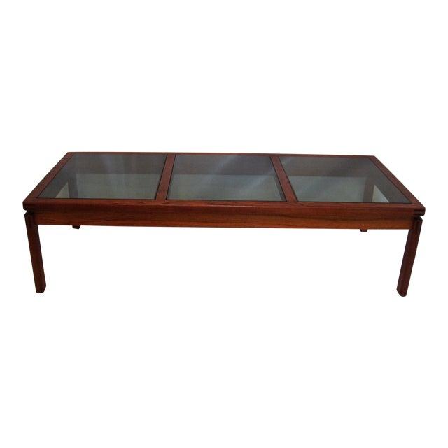 Mid-Century Modern Teak & Smoked Glass Coffee Table - Image 1 of 4