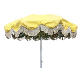 Vintage Mid-Century Yellow Vinyl with Floral Accent Umbrella