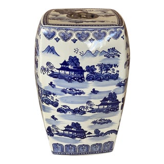 Vintage Chinoiserie Blue and White Porcelain Garden Seat For Sale