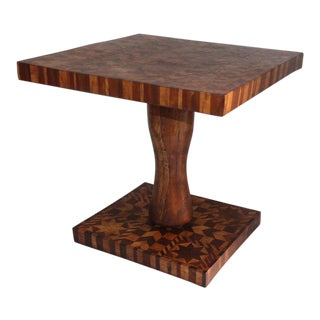 Inlaid Folk Art Side Table For Sale