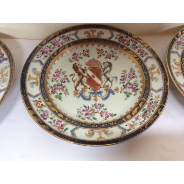 French Chinese Export Style Armorial Plates - Set of 6 For Sale - Image 5 of 9