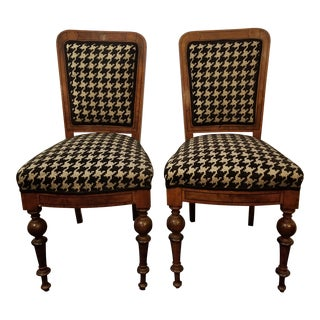 Houndstooth Vintage Chairs- A Pair For Sale