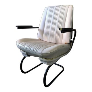 1960s Vintage White Chevelle Refurbished Leather Roadster Chair For Sale