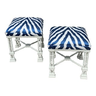 Vintage Faux Bamboo Chippendale Chinoiserie Lacquered Benches - a Pair For Sale