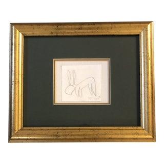 Original Vintage Robert Cooke Rabbit Drawing Small/Framed For Sale