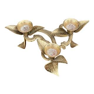 Vintage Solid Brass Leaf Candelabra For Sale
