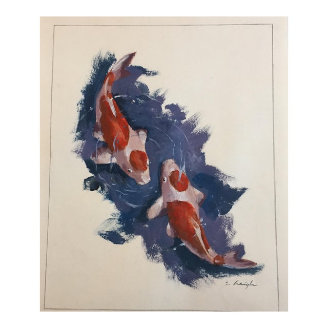 Original Koi Illustration Painting Stephen Heigh - Image 1 of 5