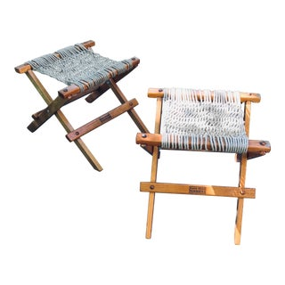 Nags Head Hammock Co. Folding Rope Ottomans - a Pair For Sale