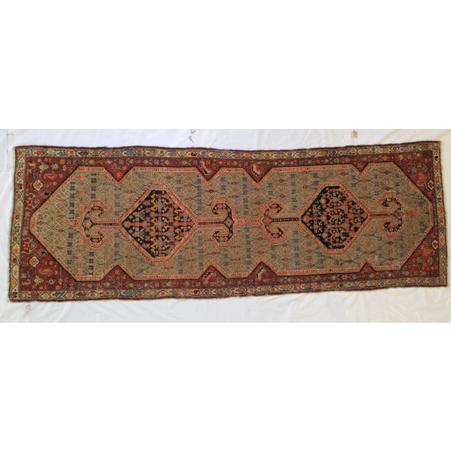 "1900's Leon Banilivi Antique N.West Persian Rug, 3'7"" X 10'6"" For Sale In New York - Image 6 of 6"