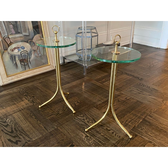 Metal 1950s Cesare Lacca Brass and Glass Drinks Tables - a Pair For Sale - Image 7 of 11