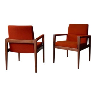 Jens Risom Mid Century Modern Armchairs, a Pair For Sale