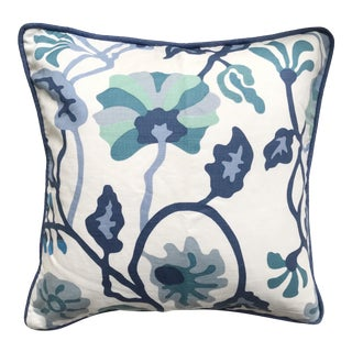Quadrille Alan Campbell Potalla Multi Blues Pillow Cover For Sale