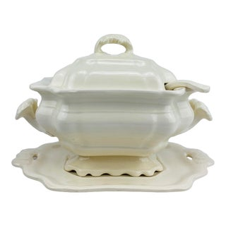 Late 19th Century Large Creamware Tureen W/Underplate & Ladle For Sale