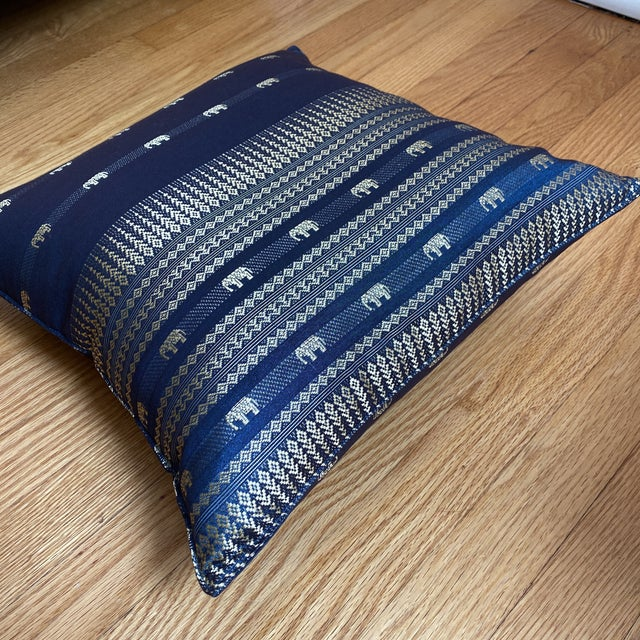 Blue Thai Silk Pillow With Elephant Motif For Sale - Image 12 of 13