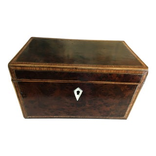 19th Century Antique English Thuya Burl Wood Inlay Double Tea Caddy For Sale