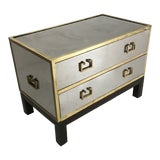 Image of 1970s Sarreid Gold and Silver Chest on Ebony Base For Sale