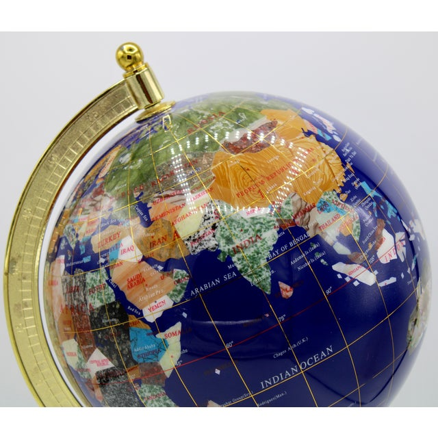 Vintage Blue Lapis World Globe on Brass Stand With Semiprecious Gems For Sale - Image 4 of 13