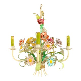 Boho Chic Italian Tole Metal Flowers Chandelier With Four Arms For Sale