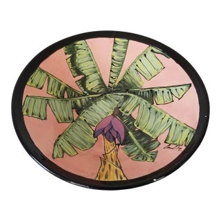 80's Vintage Tropical Decorative Ceramic Bowl , Signed . For Sale