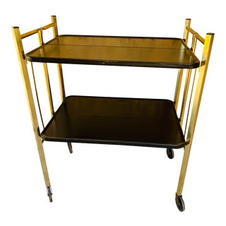 1950s Mid Century Modern Folding Metal Bar Cart - Relyon For Sale