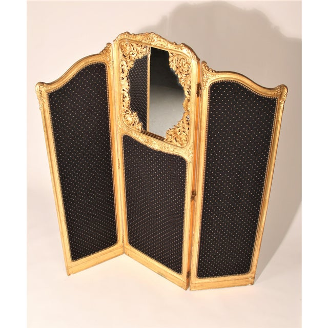 French Late 19th Century French Louis XVI Style Three-Fold Gilt-Wood Floor Screen For Sale - Image 3 of 8