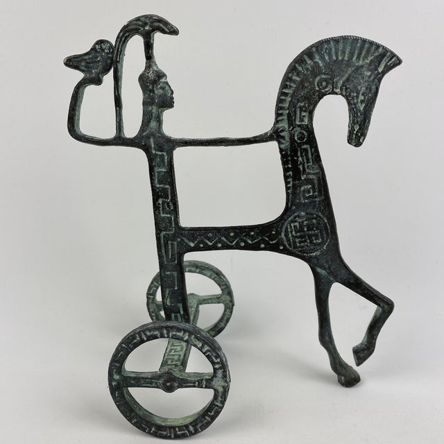 Vintage Brass Etruscan Horse and Chariot Rider Sculpture in the Style of Frederick Weinberg For Sale - Image 13 of 13