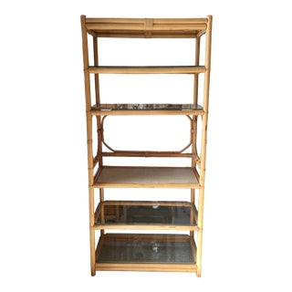Boho Chic Chippendale Rattan Bar Etagere With Bar Surface For Sale