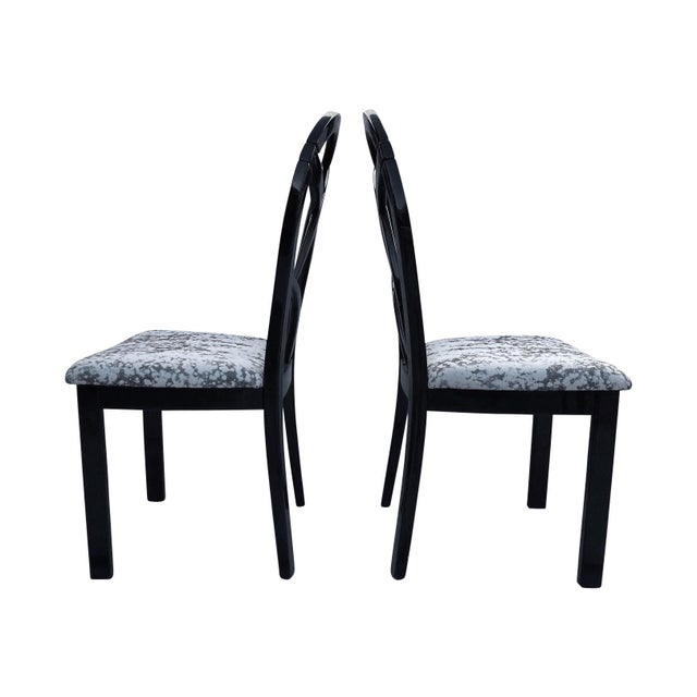 Art Deco 80's Italian Black Lacquer Art Deco Dining Chairs - Set of 4 For Sale - Image 3 of 7