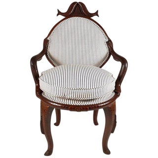 19th Century American Fish Carved Folk Art Armchair For Sale