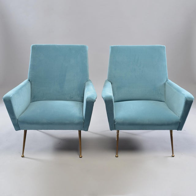 Mid-Century Italian Arm Chairs With New Sky Blue Upholstery - a Pair For Sale - Image 11 of 11