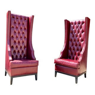 Vintage Tufted High-Back Style Leather Chairs - a Pair For Sale