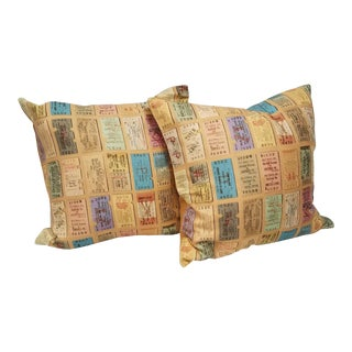 English Train Ticket Pillows - A Pair For Sale