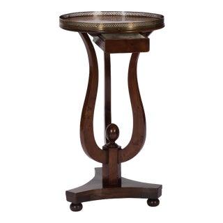 French Neoclassic Walnut & Brass Table