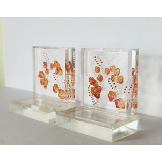 1960s Vintage Lucite Pink and Orange Floral Bookends-a Pair Preview