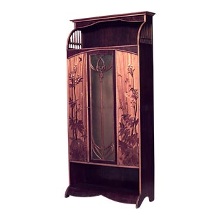 French Art Nouveau Walnut and Inlaid Floral Design 3 Door Armoire Cabinet For Sale