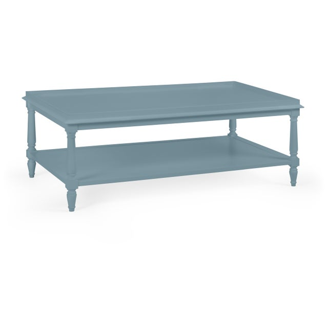 Transitional Casa Cosima Revere Cocktail Table, Chiswell Blue For Sale - Image 3 of 3