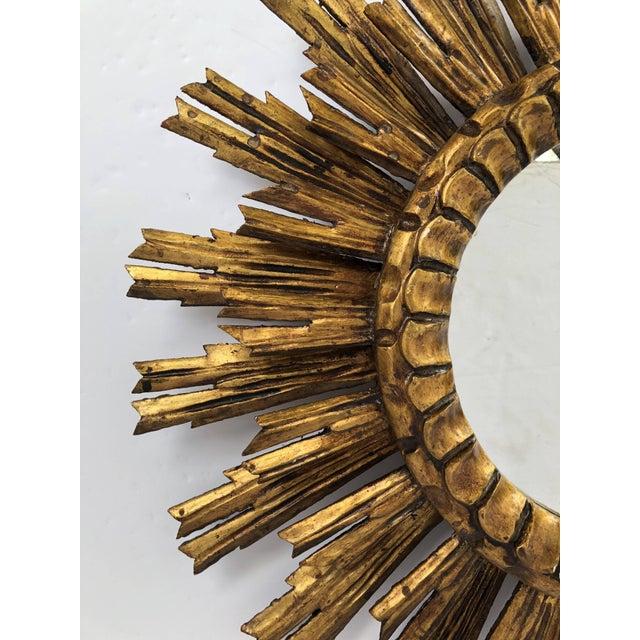 French Gilt Starburst or Sunburst Mirror (Diameter 24) For Sale - Image 4 of 9