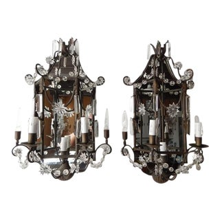 1900 French Mirror Sconces Crystal Spear and Stars For Sale