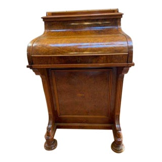 Antique Victorian Davenport Pop Up Desk With Secret Compartment and Side Drawers For Sale