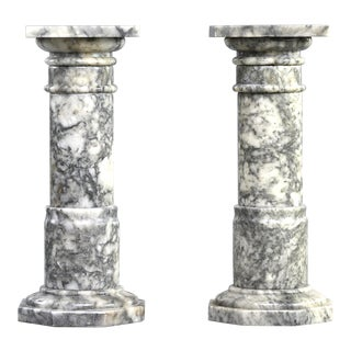 Pair Italian Carved Marble Columns For Sale