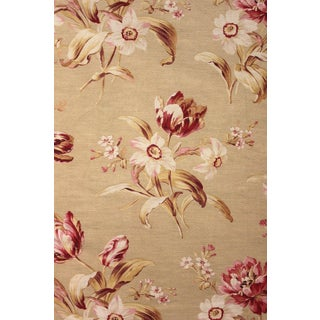 Fabric French Antique Cotton Cretonne C1890 Material Faded Tulip Floral Design For Sale