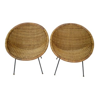 Signed 1960's Rattan Chairs - A Pair