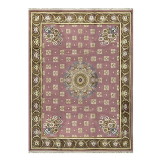 Traditional Hand Woven Rose & Brown Rug - 8'11 X 12' For Sale