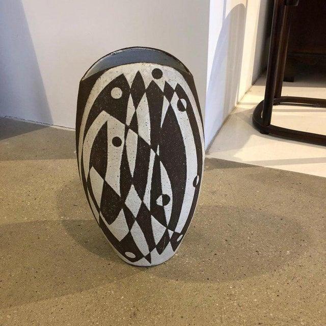 Mid-Century Modern Graphic Danish Ceramic Vase For Sale - Image 3 of 7