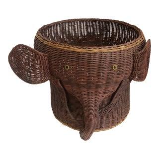 Vintage Wicker Elephant Basket or Planter For Sale