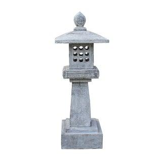 Oriental Zen Light Gray Stone Square Tower Garden Lantern Statue For Sale